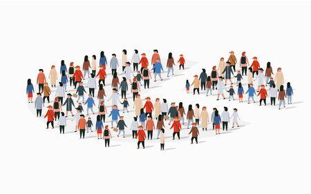 Rapport sur la démographie de la population, camembert composé de personnes. Illustration vectorielle