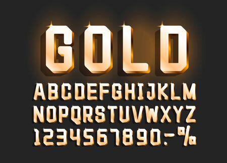 Golden font alphabet retro, number sign. Vector illustration Illusztráció