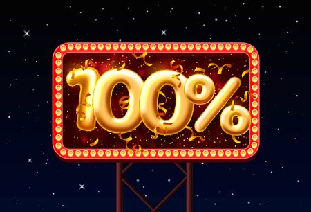 Sale 100 off balloon number on the Night Sky background. Vector illustration