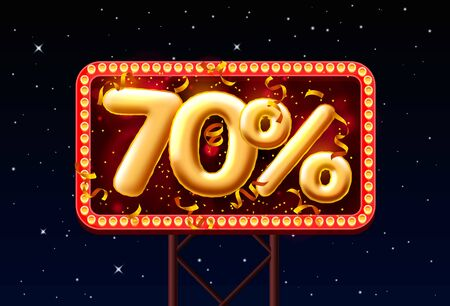 Sale 70 off balloon number on the Night Sky background. Vector illustration