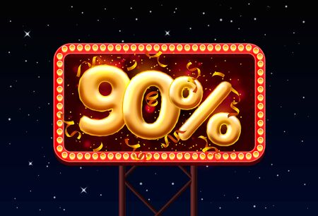 Sale 90 off balloon number on the Night Sky background. Vector illustration