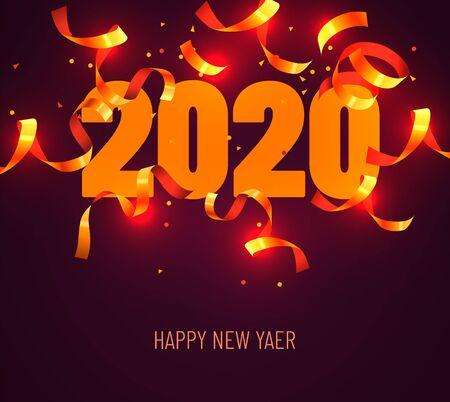 Saludo de feliz año nuevo 2020 con confeti dorado. Ilustración de vector. Elemento de diseño para volantes, folletos, postales y carteles. Ilustración vectorial