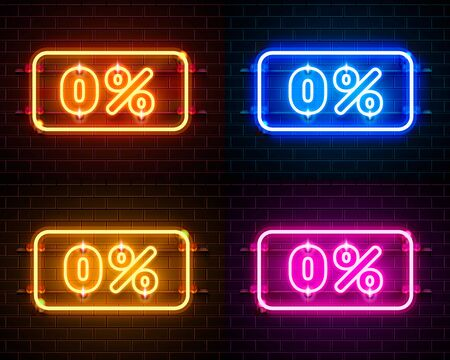 Neon off text banner color set. Night Sign. Vector illustration