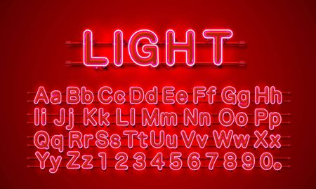 Neon city color red font. English alphabet and numbers sign. Vector illustration Stock Illustratie