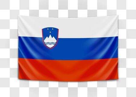 Hanging flag of Slovenia. Republic of Slovenia. National flag concept. Vector illustration.