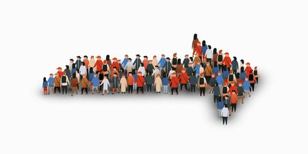 Large group of people in the shape of an arrow shape. Vector illustration