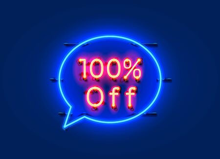 Neon chat frame 100 off text banner. Night Sign board. Vector illustration