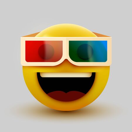 Emoji with 3d glasses, emoticon watching 3d movie, 3d rendering. Vector illustration
