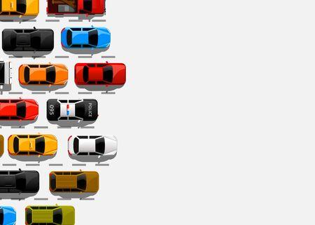Traffic jam on the road. Road transport. Highway banner. Vector background Stock Illustratie