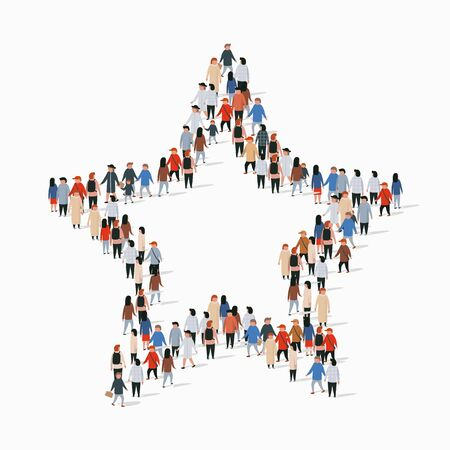 Big group of people standing in a star sign. Vector illustration