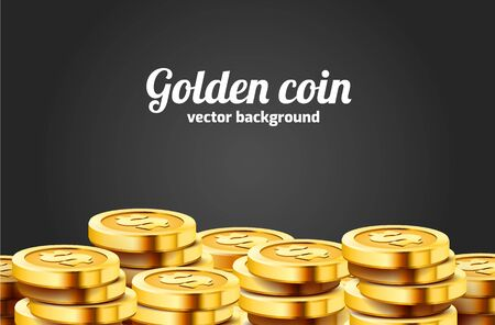 A lot of coins on black background. Jackpot or success concept. Modern background. Vector illustration Ilustracja