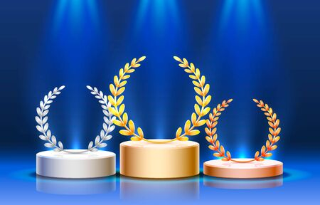 Stage podium with lighting, Stage Podium Scene with for Award Ceremony on blue Background. Vector illustration Ilustracja