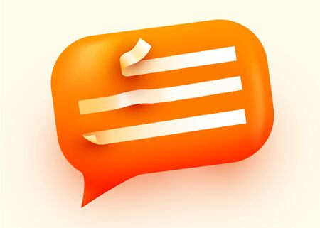 Orange glossy speech bubble illustration. Social network communication concept. Vector illustration Zdjęcie Seryjne - 134177595