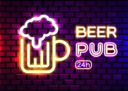 Retro neon Beer Bar sign on brick wall background. Neon design for bar, pub or restaurant business. Craft beer. Vector illustration.