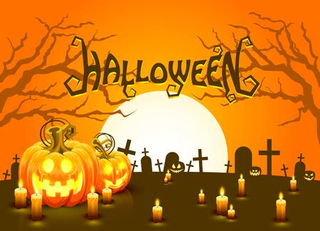 Cover Halloween pumpkin and candlesm, The card is discovered. Vector illustration