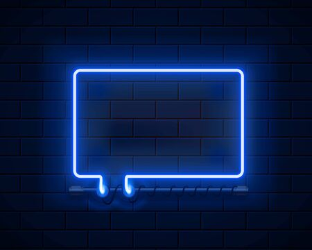 Neon symbol chat color blue city signboard. Vector illustration Stock Illustratie