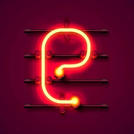 Neon font letter e, art design signboard. Vector illustration
