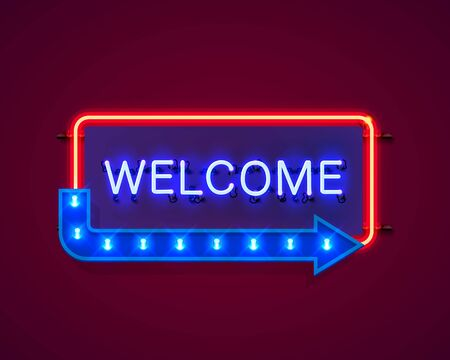Neon welcome open signboard on the red background. Vector illustration Stock Illustratie