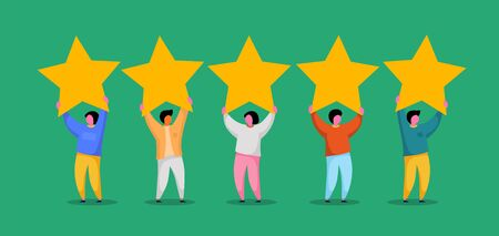 Five stars rating flat style vector concept. People are holding stars. Feedback consumer or customer review evaluation, satisfaction level and critic background. Vector illustration Stock Illustratie