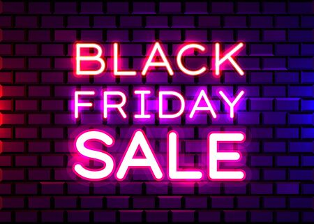 Black Friday realistic isolated neon sign for decoration and covering on brick background. Concept of sale, clearance and discount. Vector illustration