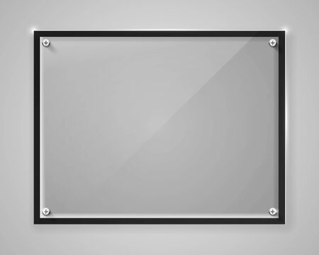 Realistic horizontal transparent glass frame with shadow. Modern background. Vector illustration Ilustracja