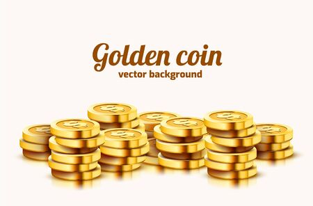 A lot of coins on white background. Jackpot or success concept. Modern background. Vector illustration Ilustracja