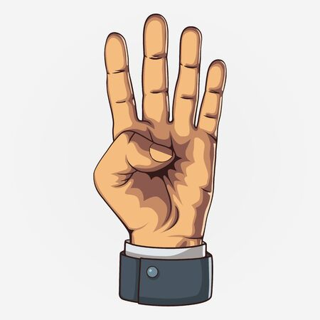 Hand showing four count. Clean vector illustration.