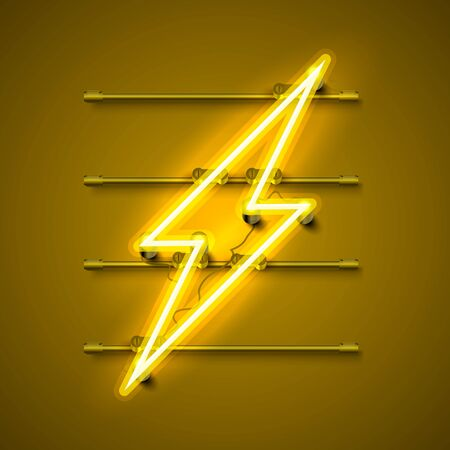 Neon sign of lightning signboard on the yellow background. Vector illustration Ilustracja