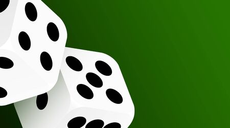 Realistic game dice icon in flight closeup isolated on green background. Casino gambling design template for app, web, infographics, advertising, mockup. Vector illustration Ilustracja