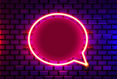 Neon frame sign in the shape of a chat. template design element. Vector illustration Ilustracja