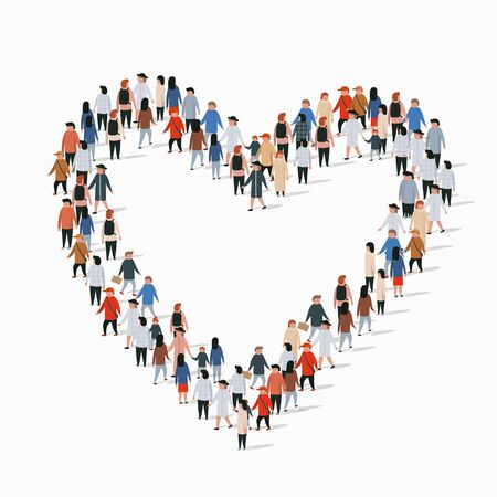 Large group of people in the heart sign shape. Vector illustration Ilustracja