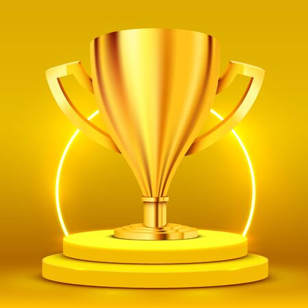 Realistic Golden Trophy on round podium illuminated with spotlight. Award ceremony concept. Stage backdrop. Vector illustration