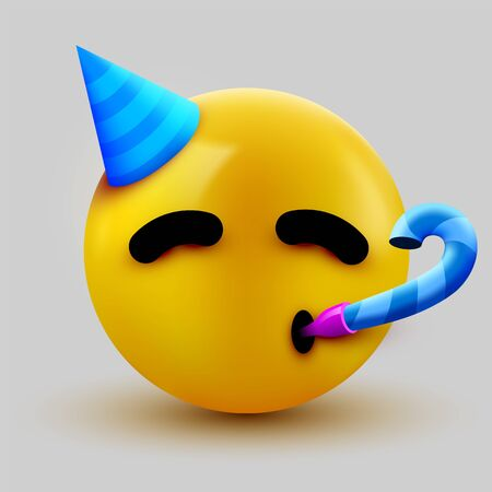 Party face emoji - yellow face with a party hat blowing and party horn. Vector illustration Ilustracja