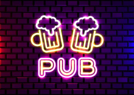 Retro neon Beer Bar sign on brick wall background. Neon design for bar, pub or restaurant business. Craft beer. Vector illustration. Ilustracja