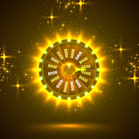 Neon colorful fortune wheel. golden background. Vector illustration