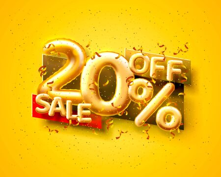 Sale 20 off ballon number on the yellow background. Vector illustration