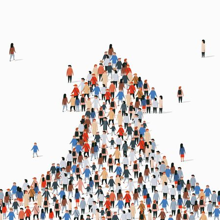 Large group of people in the shape of an arrow. Vector illustration Illusztráció
