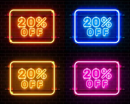 Neon 20 off text banner color set. Night Sign. Vector illustration