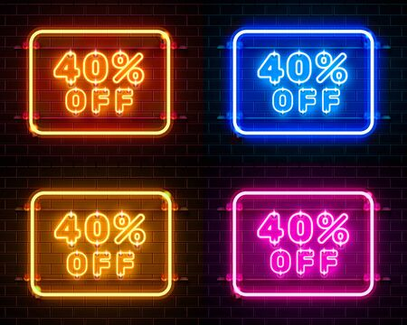 Neon 40 off text banner color set. Night Sign. Vector illustration
