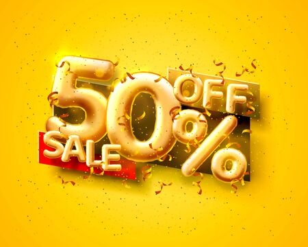 Sale 50 off ballon number on the yellow background. Vector illustration