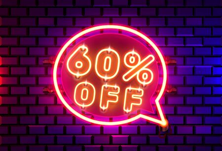 Neon chat frame 60 off text banner. Night Sign board. Vector illustration