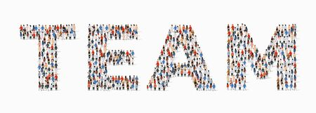 Large group of people in form of team word. Vector illustration