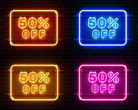 Neon 50 off text banner color set. Night Sign. Vector illustration