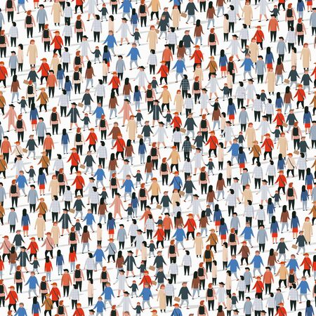 Large group of people. Vector seamless background