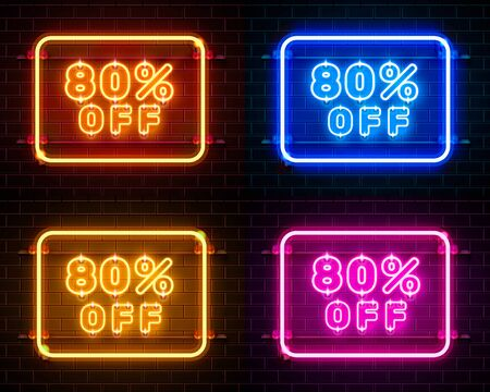 Neon 80 off text banner color set. Night Sign. Vector illustration