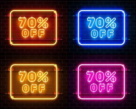 Neon 70 off text banner color set. Night Sign. Vector illustration Ilustracja