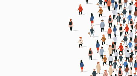 Large group of people on white background. People communication concept. Vector illustration Ilustracja