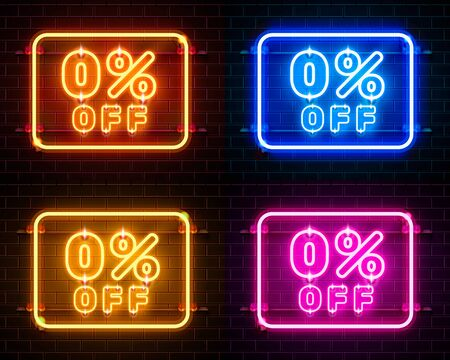 Neon 0 off text banner color set. Night Sign. Vector illustration