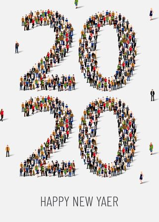 Happy New Year 2020. Large and diverse group of people gathered together in the shape of number 2020. Vector illustration