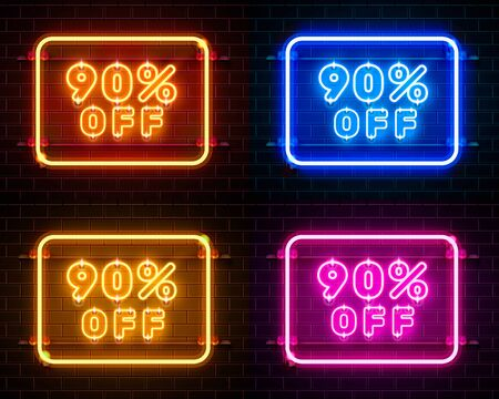 Neon 90 off text banner color set. Night Sign. Vector illustration Ilustracja